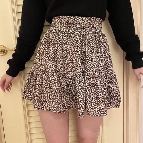 leopard flare mini skirt