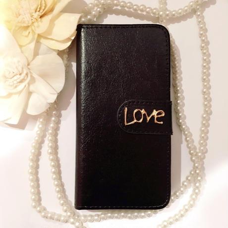 再入荷【iPhone6s/6】LOVE ダイアリー ブラック