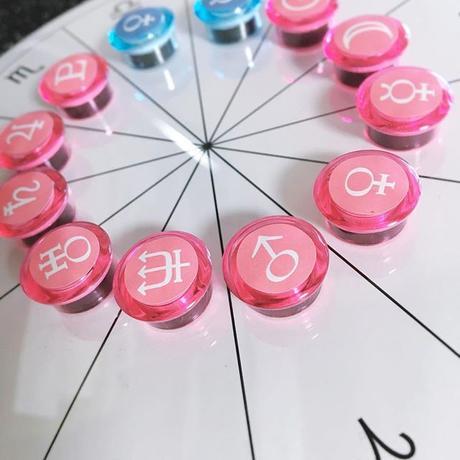 M-005 #ホロスコープ台座 シンプルモデル +豆惑星マグネットジェネリック  ピンク