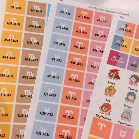 S-010 2021 貼ってはがせるマステタイプ #月星座シール 単品(手帳・卓上カレンダー用 星の運行シール)最終販売