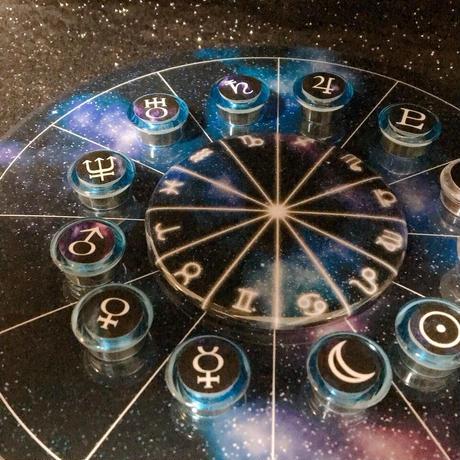 M-015 #ホロスコープ台座  だい宇宙台座サインダイヤル+ブルー×宇宙柄マグネット付き