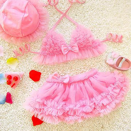 ベビービキニ★水着★90★(ピンク)★フリル★リボン★スイムウェア★かわいい★水着★乳児★幼児★ビキニ★女の子★キッズ