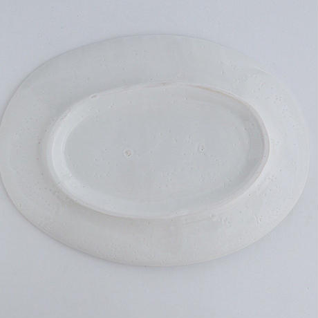 河合竜彦 白釉玉縁オーバルリム皿L