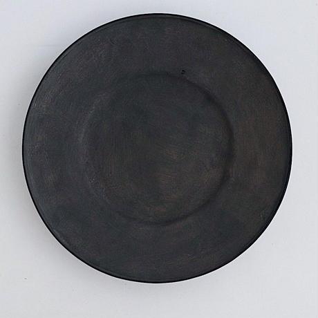 河合竜彦 黒化粧玉縁リム皿M