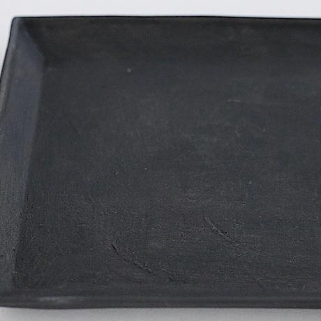 河合竜彦 黒化粧玉縁角盆