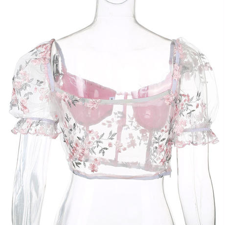 PINK★see-through  flower  tops  top-150