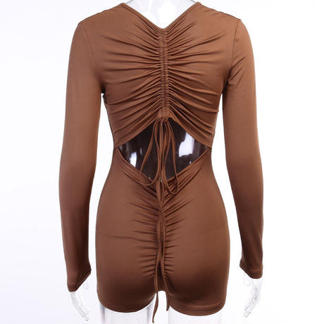 BROWN♡back open  rompers  one-123
