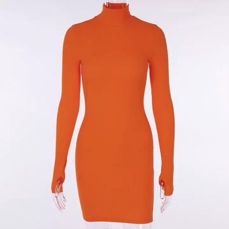 ORANGE★9 color  rib dress        one-114