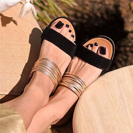 BLACK★gold  flat  sandal  sho-15