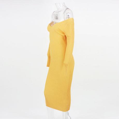 YELLOW★knit  dress  one-157