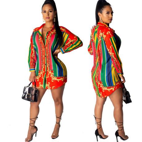 colorful stripe  design☆big shirt   one-46