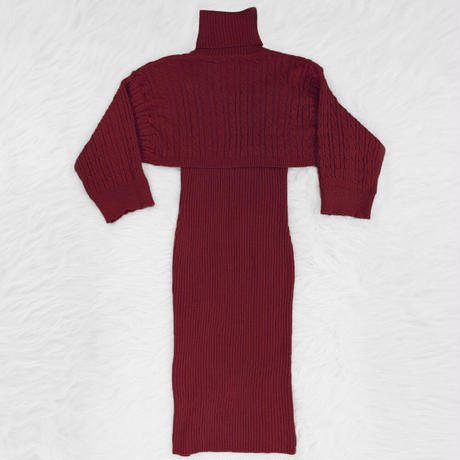 BURGUNDY★turtleneck  knit  setup one-154