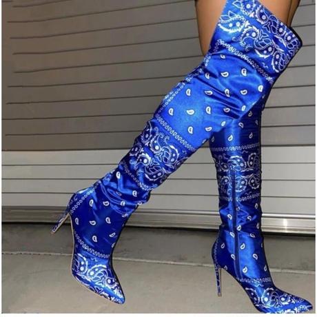 BLUE★paisley  kneehigh boots  sho-128