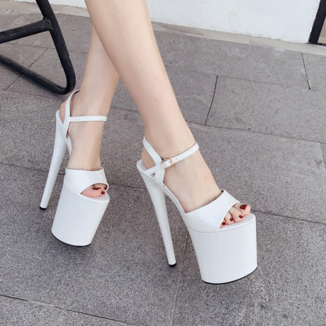 WHITE★super  high  heels   sho-84