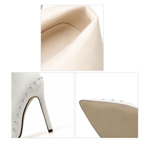 WHITE★ side rhinestone  short  boots  sho-122