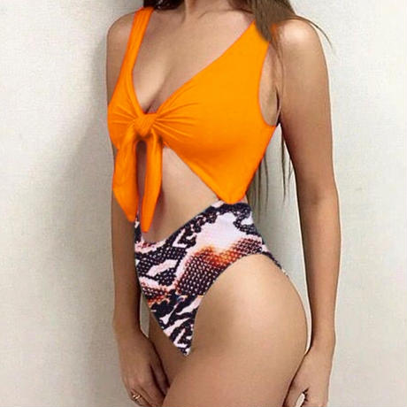 orange python♡high waist  swim wear  swim-10