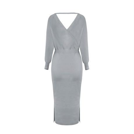 GRAY★slit knit  ribbon  dress  one-181