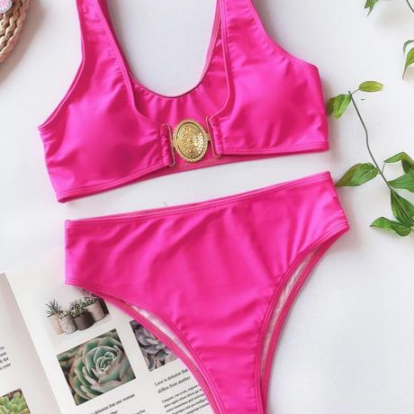 pink×gold♡high waist swim wear  swim-09