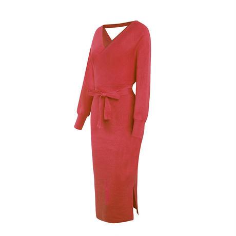 RED★slit knit  ribbon  dress  one-184