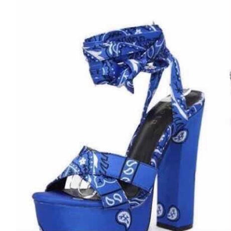 BLUE★paysley★high heel  sho-9