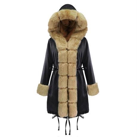 BLACK×BROWN★fake fur coat  jac-06
