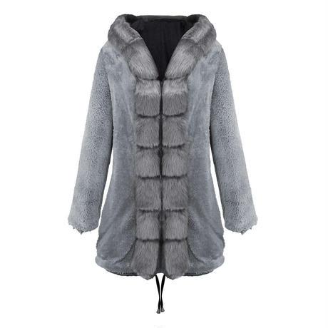 BLACK×GRAY★fake fur coat  jac-07