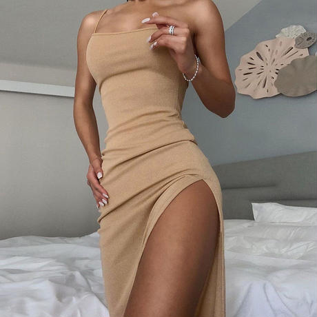 IVORY★slit  long dress  one-74
