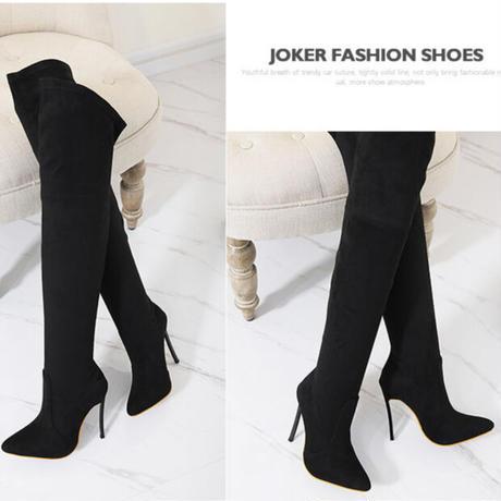 BLACK★ ping  heal  long   boots  sho-109