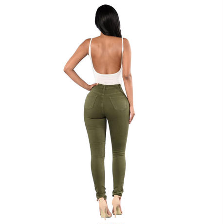 khaki★high  waist  pants  bot-36
