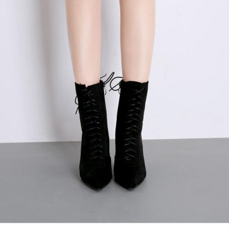 BLACK★ metallic  heal  short   boots  sho-112