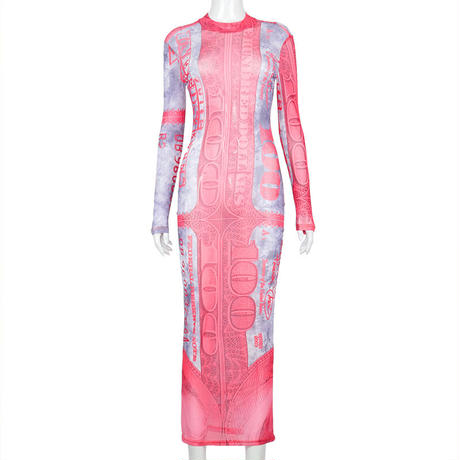 BROWN★ドル札  print  long  dress  one-233