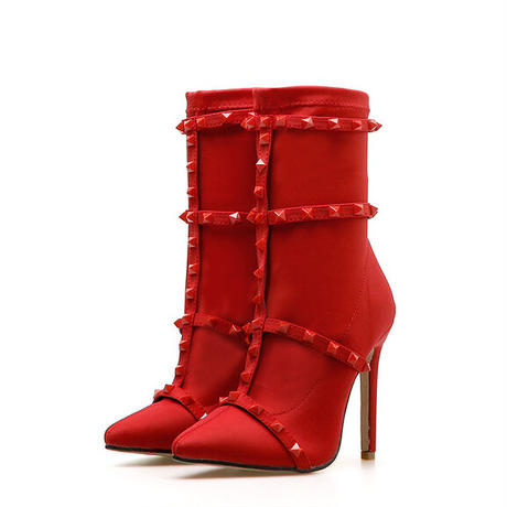 RED★ studs  short   boots  sho-114