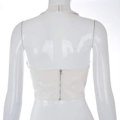 WHITE★leather  halterneck  top-178