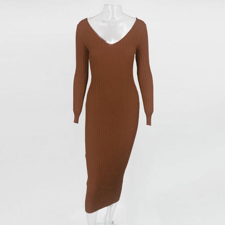 BROWN★knit  dress  one-161