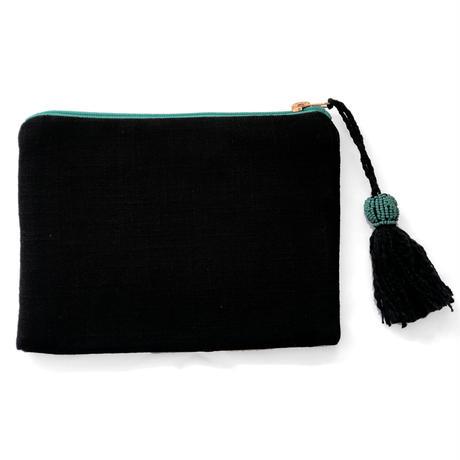 アニマル刺繍ポーチ レオパード(ブラック)