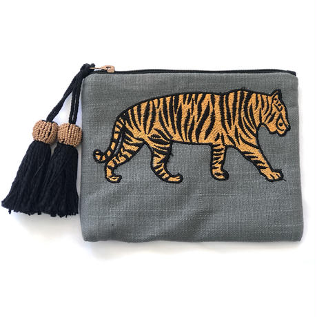 アニマル刺繍ポーチ タイガー(グレー)
