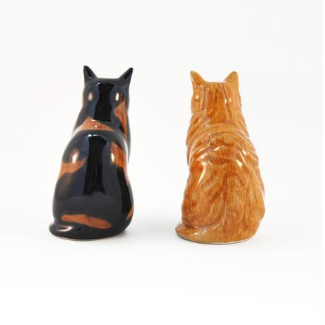 QUAIL Ceramics ソルト&ペッパー( 茶トラ&ミケ)