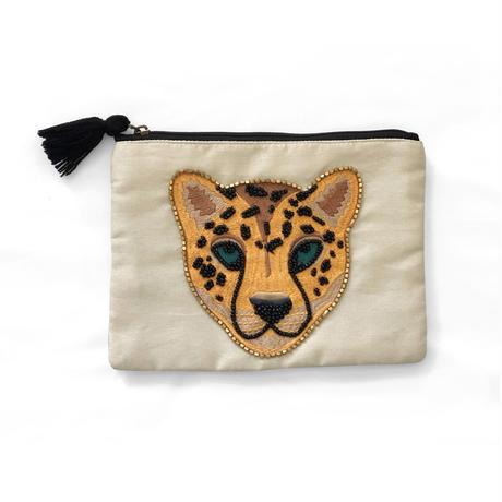レオパード刺繍フラットポーチL