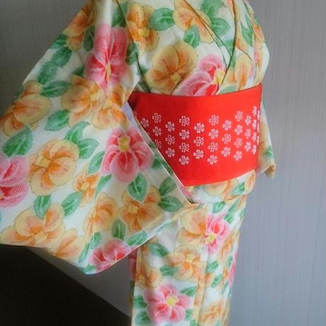 椿のウール着物と帯セット