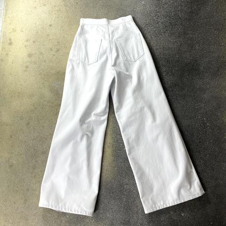 WOMENS RIGID DENIM WIDE PANTS / WHITE