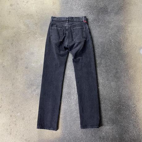 WOMENS WASHED DENIM SLITED PANTS / BLACK