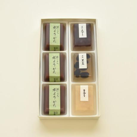 冷菓詰合せ6個入り箱:豆入寒天×3・水ようかん×3
