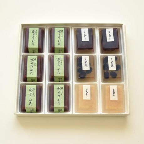 冷菓詰合せ12個入り箱:豆入寒天×6・水ようかん×6