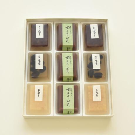 冷菓詰合せ9個入り箱:豆入寒天×6・水ようかん×3