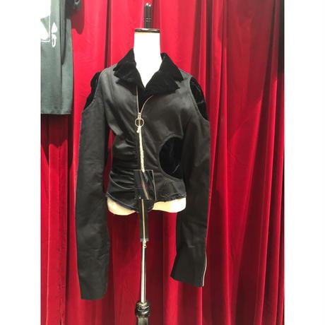 velours&canvas damage layered jacket