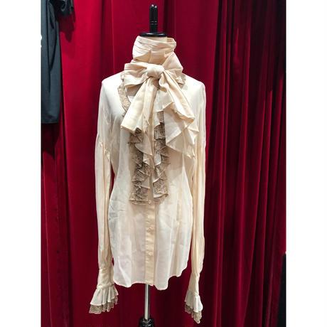 2necktie camel organdy frill antiquelike long blouse
