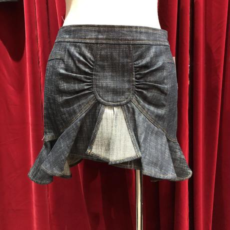 symmetry&asymmetry変形denim mini skirt