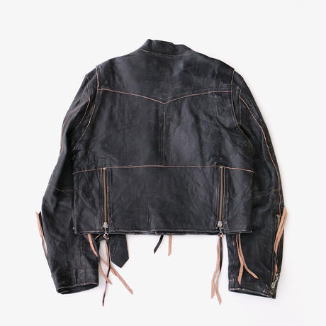 sugarhill | CRUSHED LEATHER MOTOCYCLE JACKET | BLACK
