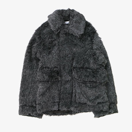 DAIRIKU | Vinyl Patch Fur Coat | GREY
