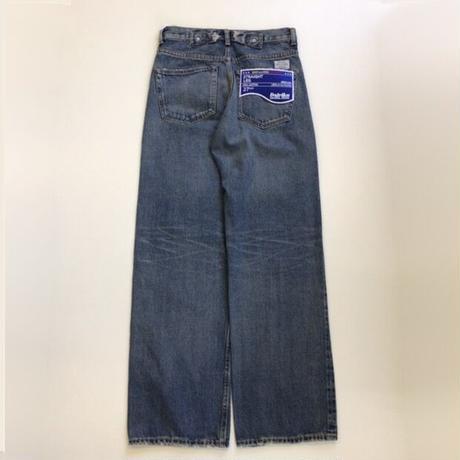DAIRIKU |  Leather Patch & Hand Paint Denim Pants | Indigo